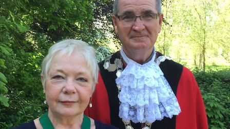The new mayor of Bungay Mick Lincoln with deputy mayor Susan Collins. Photo Susan Collins.