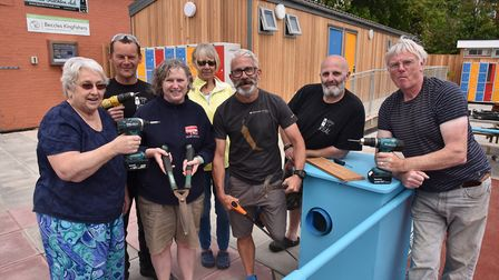 Volunteers at Beccles Lido work to get the pool ready for the opening tomorrow. Picture: Sonya Dunca