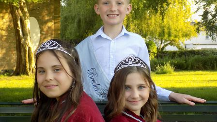 Beccles carnival princesses Brooke Lay and Evie Gregson, with prince Harrison Nichols. Picture: Paul