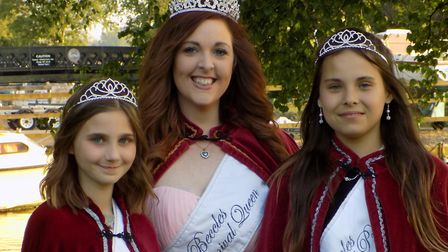Beccles carnival queen Christine Soanes, with princesses Evie Gregson and Brooke Lay. Picture: Paul