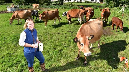 Rebecca Mayhew with her herd of cows. Picture: Nick Butcher