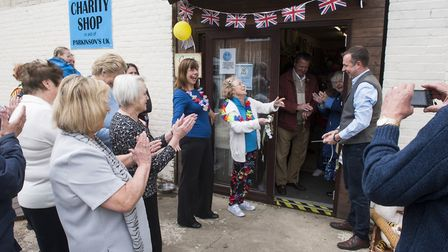 Simon Peck opens the new Parkinson's charity shop in Chedgrave.Picture: Nick Butcher