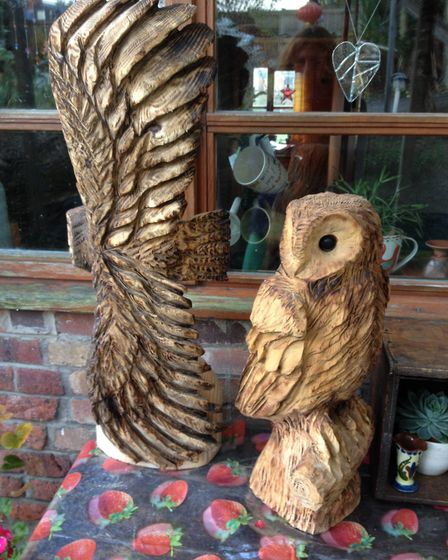 The two owls carved by Hazel Copland which were stolen. Picture: Hazel Copland