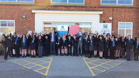 Pupils and staff celebrate Beccles Free School's Good Ofsted rating. Picture: Beccles Free School