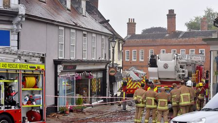 Fire crews at the scene of the fire in Chediston Street, Halesworth. Picture: Nick Butcher.
