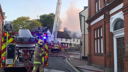 Fire crews at the scene of the fire in Halesworth Picture: AMY SMITH/ARCHANT