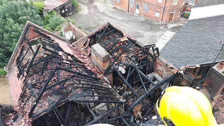 The view of the damage caused by the fire in Halesworth. Picture: Ben Horne