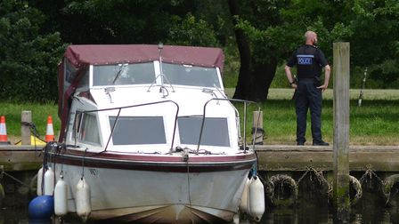 The vessel moored at Beccles Quay was guarded by police officers. Picture: Mick Howes