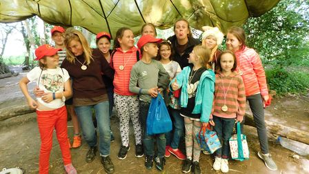The children enjoying a trip to Ringsfield Eco Centre. Picture: Alison Stannard.