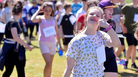 Students from Sir John Leman High School, Beccles take part in the 5K Leman 4 Life run in aid of Can