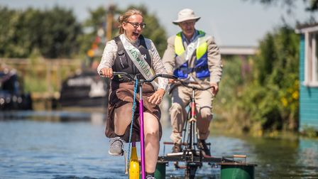 The current and former mayors took part in a water bicycle race as part of Beccles Charter Weekend.