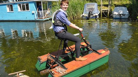 Reporter Tom Chapman trying his hand at water cycling. Picture: Margaret Churchill