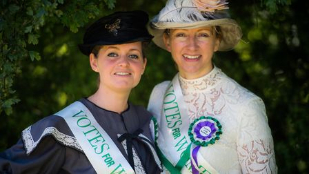 Mayor Elfrede Brambley-Crawshaw with former mayor Caroline Topping during Beccles Charter Weekend. P