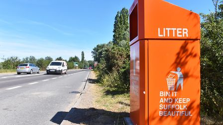 Large orange waste bins have been placed at the lay-by of the Beccles bypass.Picture: Nick Butcher