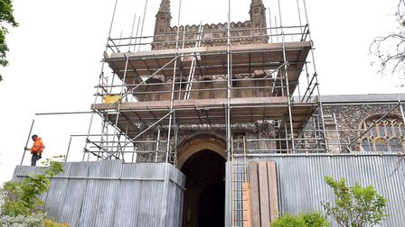 The second phase of work is starting on the south porch at St Michael's Church in Beccles. Picture: