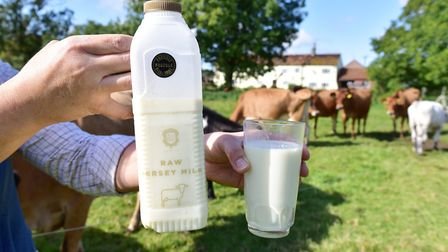 Rebecca Mayhew sells raw milk from Jersey cows at Old Hall Farm. Picture: Nick Butcher.