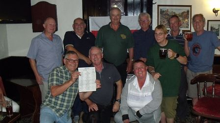 The first leg of the Bungay Festival ale trail, with organiser Fudge Farrar, standing third right. P