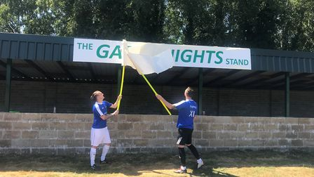 Carl and Liam Hembling unveiling the Gary Knights stand at the home of Beccles Caxton FC. Picture: A