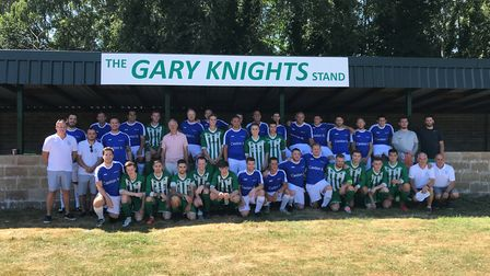 The Beccles Caxton FC and Gary's XI teams at the opening of the Gary Knights stand. Picture: Amy Smi