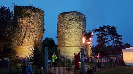 A previous beacon lighting ceremony at Bungay Castle. Picture: Andrew Atterwill.