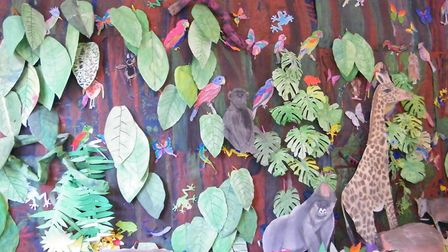 The rainforest wall covered in plants and animals. Picture: St Benet's School.