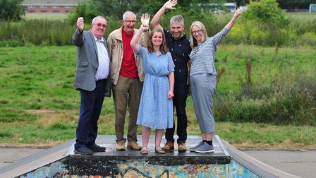 Councillors celebrate the news that they have reached the £150,000 needed to build a new skatepark
