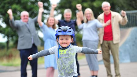 Ewan Fletcher, 3, is thrilled with the prospect of a new skate park Picture: SARAH LUCY BROWN