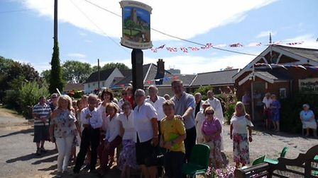 The village sign for Shadingfield and Willingham St Mary was unveiled after two years of planning. P