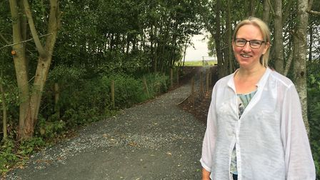 Caroline Topping at Waveney Meadow next to the new ramp. Picture: Conor Matchett