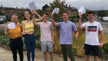 Bungay High School Sixth Form students celebrate their results. Photo: James Carr.