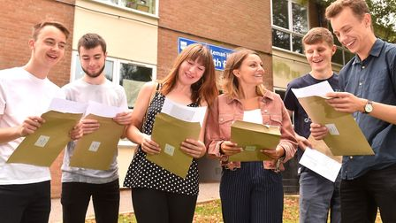 Students from Sir John Leman High School checking their A Level rseults.Picture: Nick Butcher