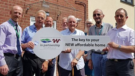 Tenants are welcomed into their new home in Garden Close, Bungay. Photo: Waveney District Council.