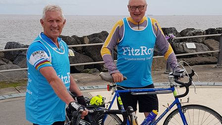 Derek Whatley and David Ritchie who are cycling from St David's to Lowestoft. Picture: Suffolk Count