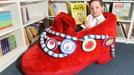 Harry Flint from Albert Pye Community Primary School, Beccles enjoying the new school library.Pictur
