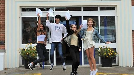 Pupils at Beccles Free School jump for joy on GCSE results day, Photo: Beccles Free School.