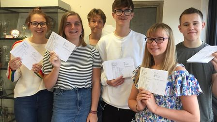 Pupils celebrate their results at Bungay High School. Photo: Bungay High School.