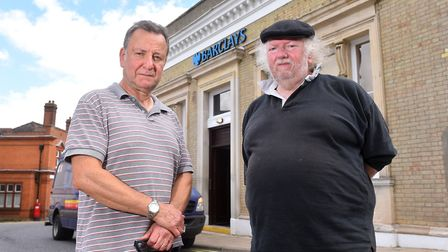Town Councillors Keith Greenberg and Dave Wollweber oustide the Halesworth branch of Barclays that i