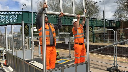 Greater Anglia contractors installing the new shelter at Beccles Railway Station. Picture: East Suff