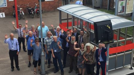 The unveiling of the new platform shelter at Beccles Railway Station. Picture: East Suffolk Lines Co