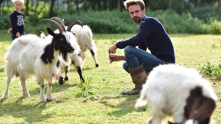 Ben Potterton with some of the animals at Earsham Wetland Centre. Picture: Nick Butcher