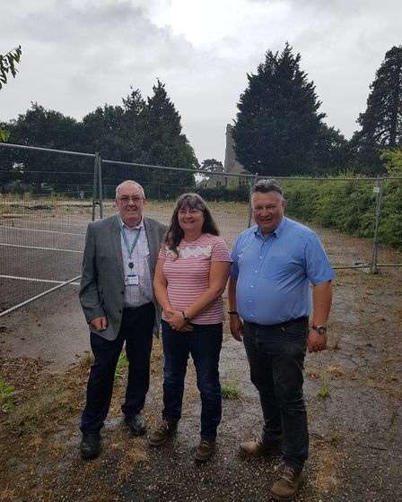 Waveney councillor Norman Brooks, Wendy Summerfield and Waveny leader Mark Bee at the site of future