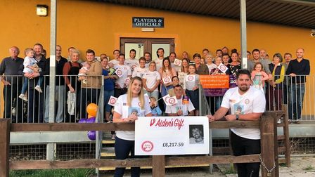 Family and friends gather to mark the success of Aiden's Gift. Photo courtesy of Lowe family.