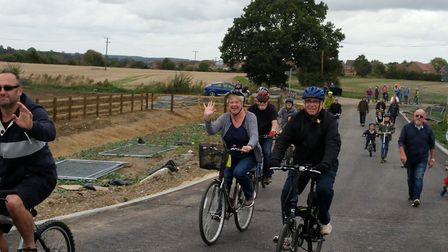 Helpers and visitors took to the new Beccles Southern Relief Road. Picture: Beccles Town Council