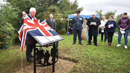 New memorial plaque unveiled at Millennium Mound in Aldeby, near Beccles.Picture: ANTONY KELLY