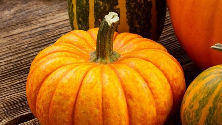 Orange and green pumpkins with fall leaves on a wooden table
