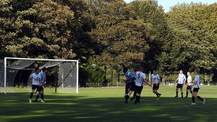 Action from Beccles Town's 5-2 win over St Andrews on Saturday Picture: CLUB