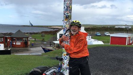 Peter Lanford iss relieved to reach John O'Groats after more than 1,100 miles. Photo: Margaret Evans