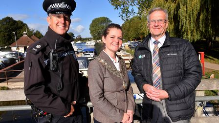 Beccles Town Mayor Elfrede Brambley-Crawshaw with Cllr Haydn Thirtle and broadsbeat officer Paul Bas
