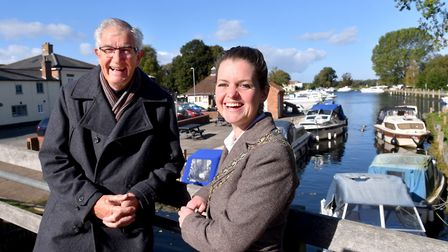 Beccles Town Mayor Elfrede Brambley-Crawshaw with Graham Catchpole at Beccles Quay.Picture: Nick But
