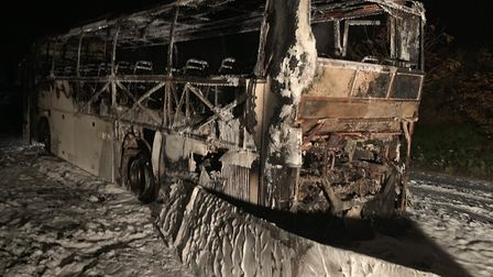 The bus that caught fire. Picture: Robert Newell